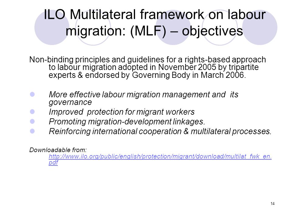 ILO Multilateral framework on labour migration: (MLF) – objectives