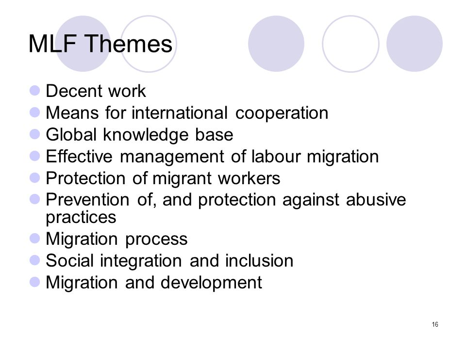 MLF Themes Decent work Means for international cooperation