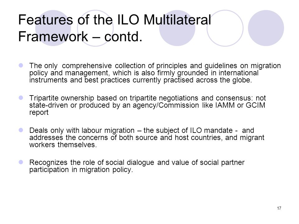 Features of the ILO Multilateral Framework – contd.