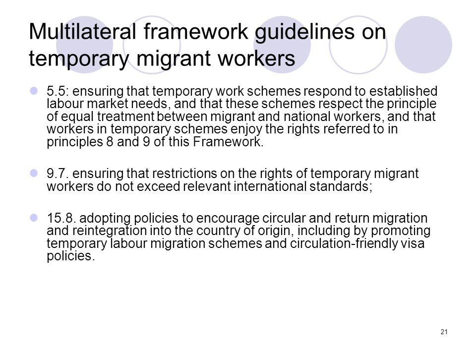 Multilateral framework guidelines on temporary migrant workers