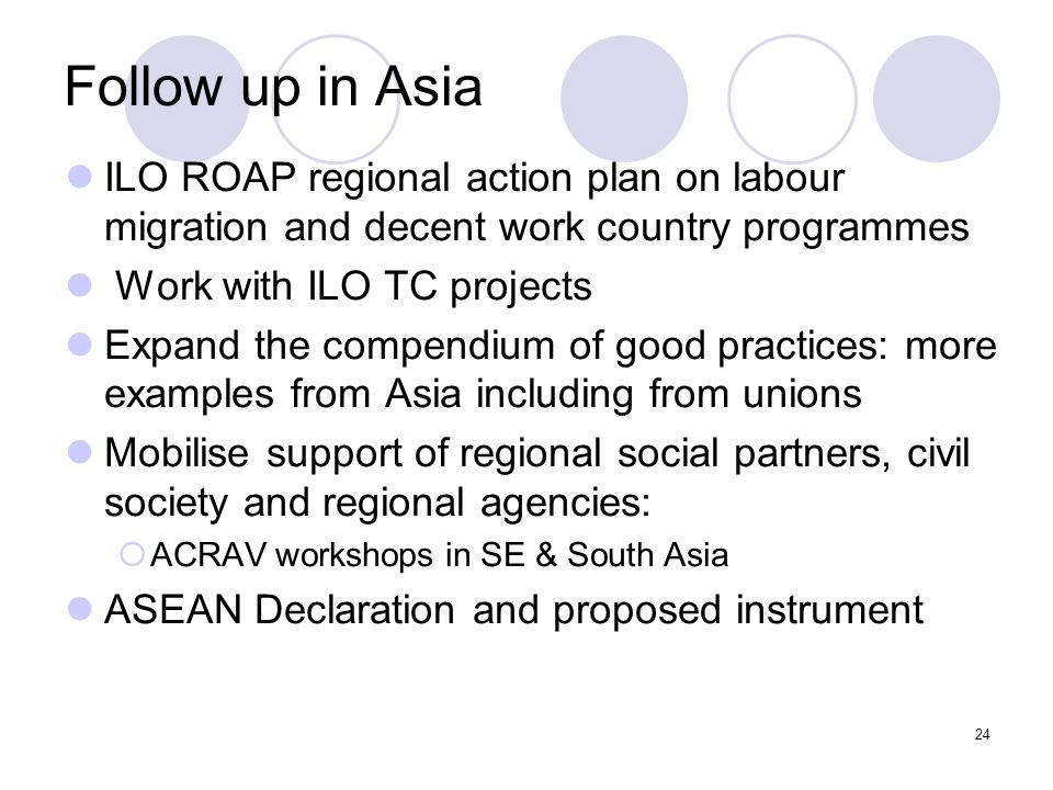 Follow up in Asia ILO ROAP regional action plan on labour migration and decent work country programmes.