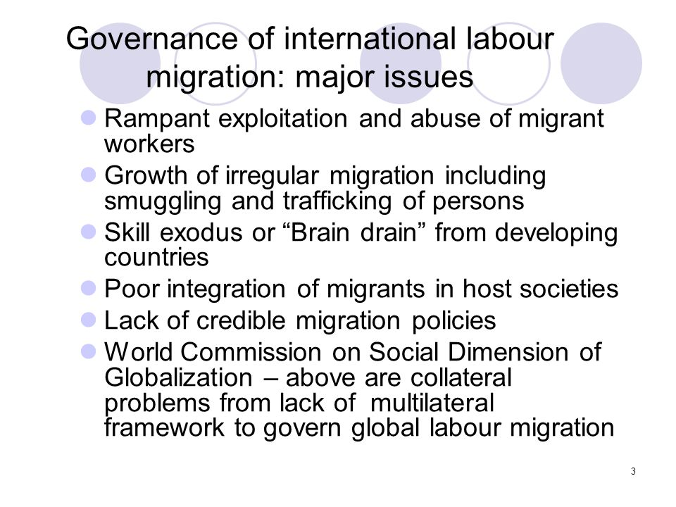 Governance of international labour migration: major issues