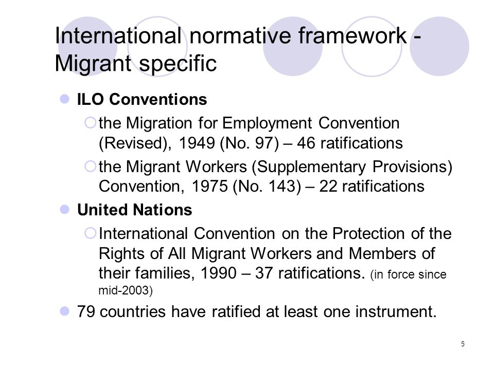 International normative framework - Migrant specific
