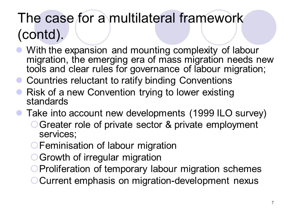 The case for a multilateral framework (contd).