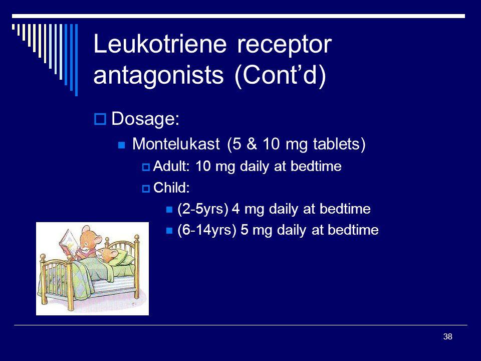 Leukotriene receptor antagonists (Cont'd)