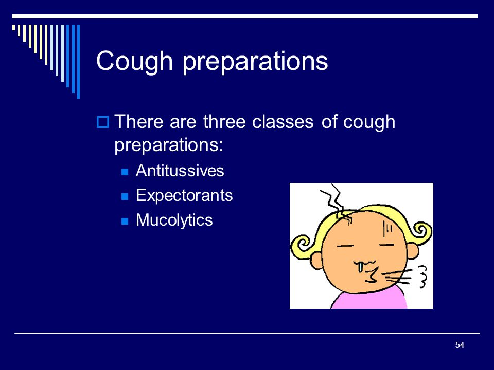 Cough preparations There are three classes of cough preparations: