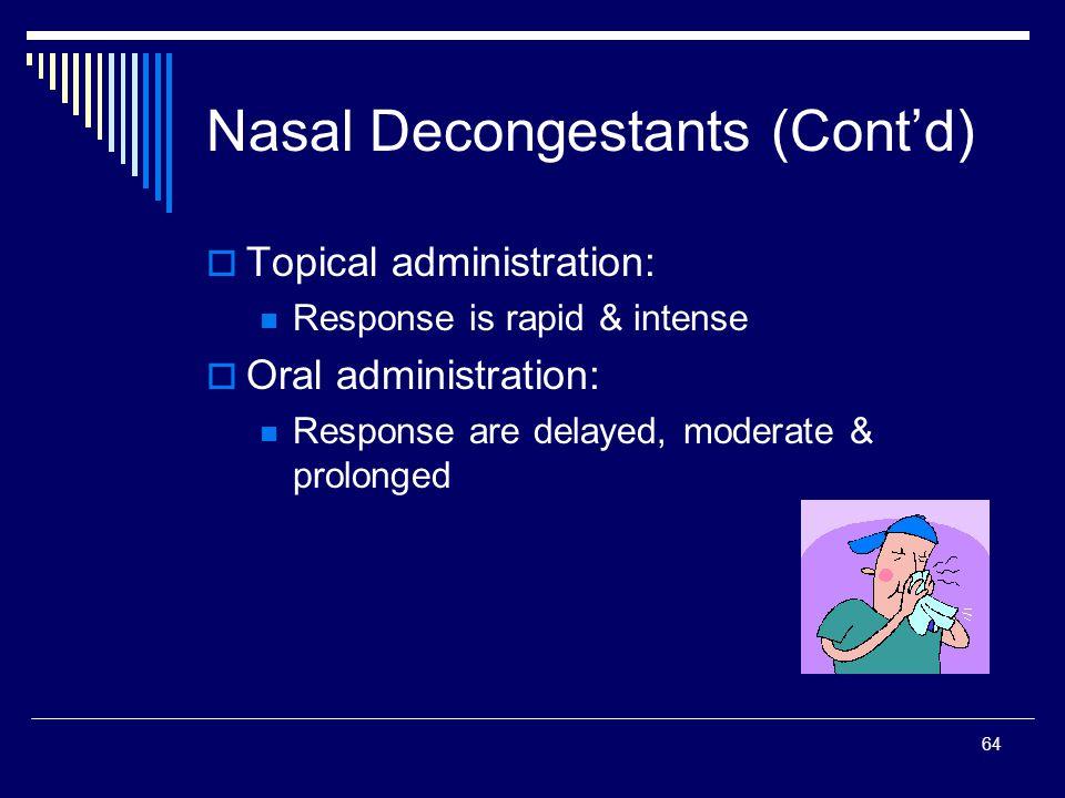 Nasal Decongestants (Cont'd)