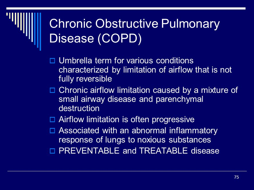 chronic obstructive pulmonary disease and small Rationale: the small conducting airways are the major site of airflow obstruction in chronic obstructive pulmonary disease and may precede emphysema development objectives: we hypothesized.