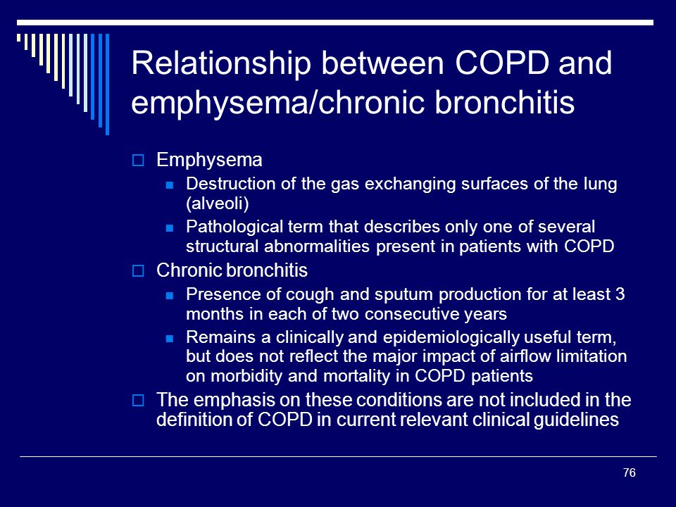 Relationship between COPD and emphysema/chronic bronchitis