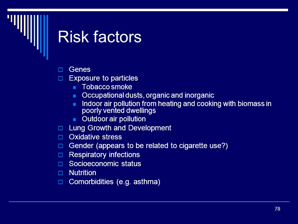 Risk factors Genes Exposure to particles Lung Growth and Development