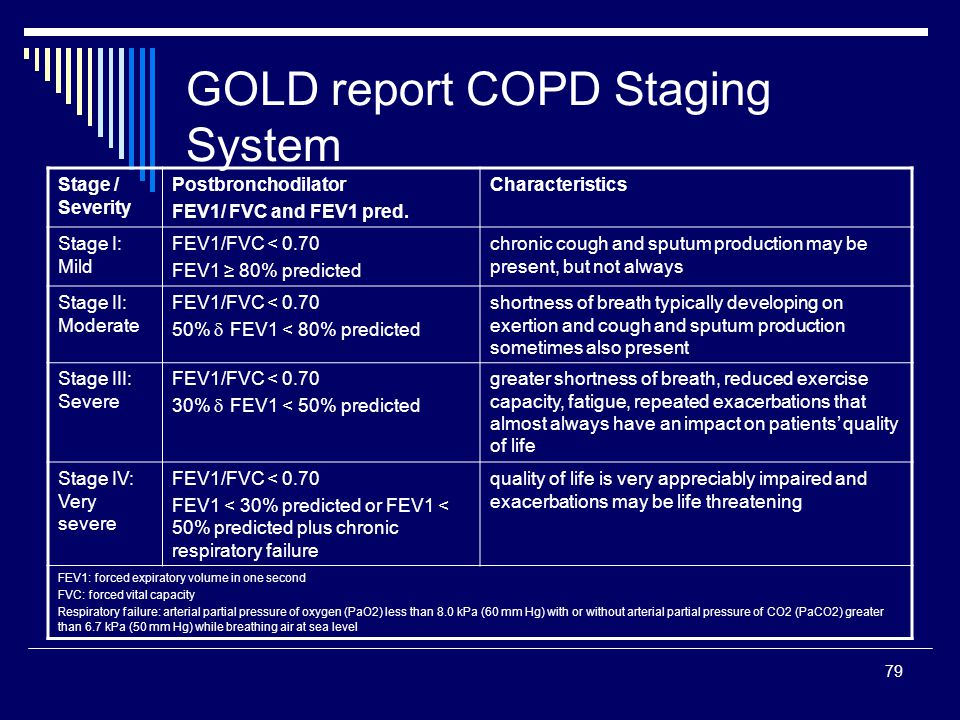 GOLD report COPD Staging System