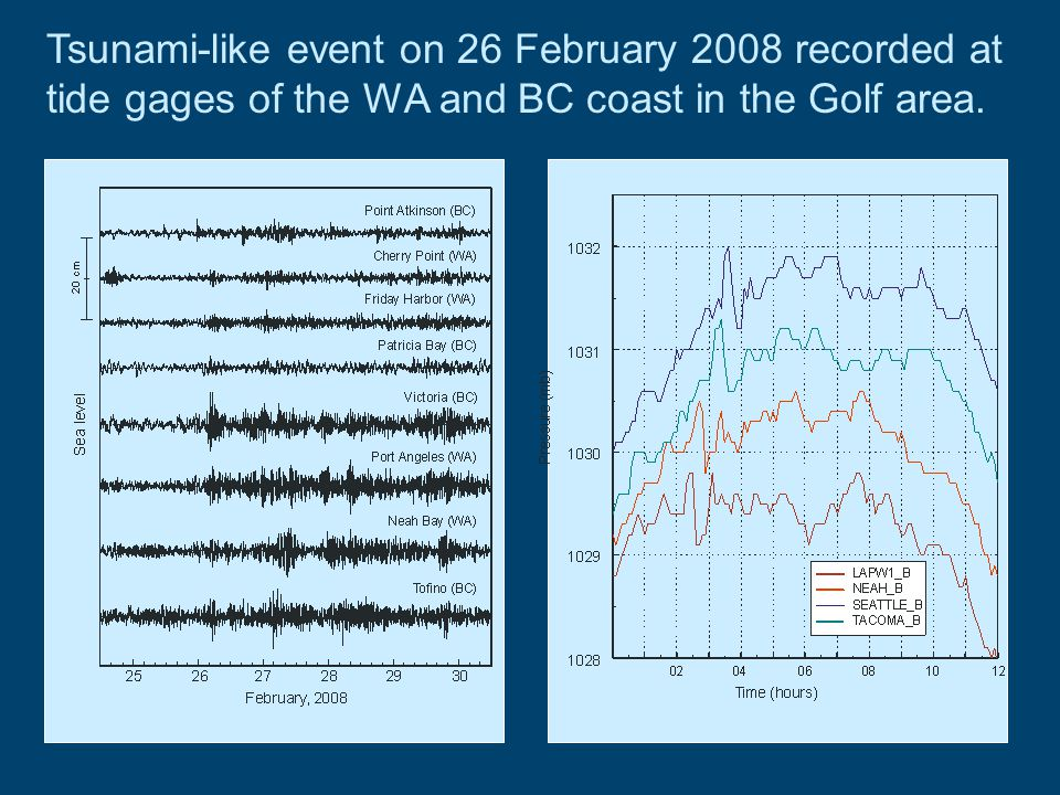 Tsunami-like event on 26 February 2008 recorded at tide gages of the WA and BC coast in the Golf area.