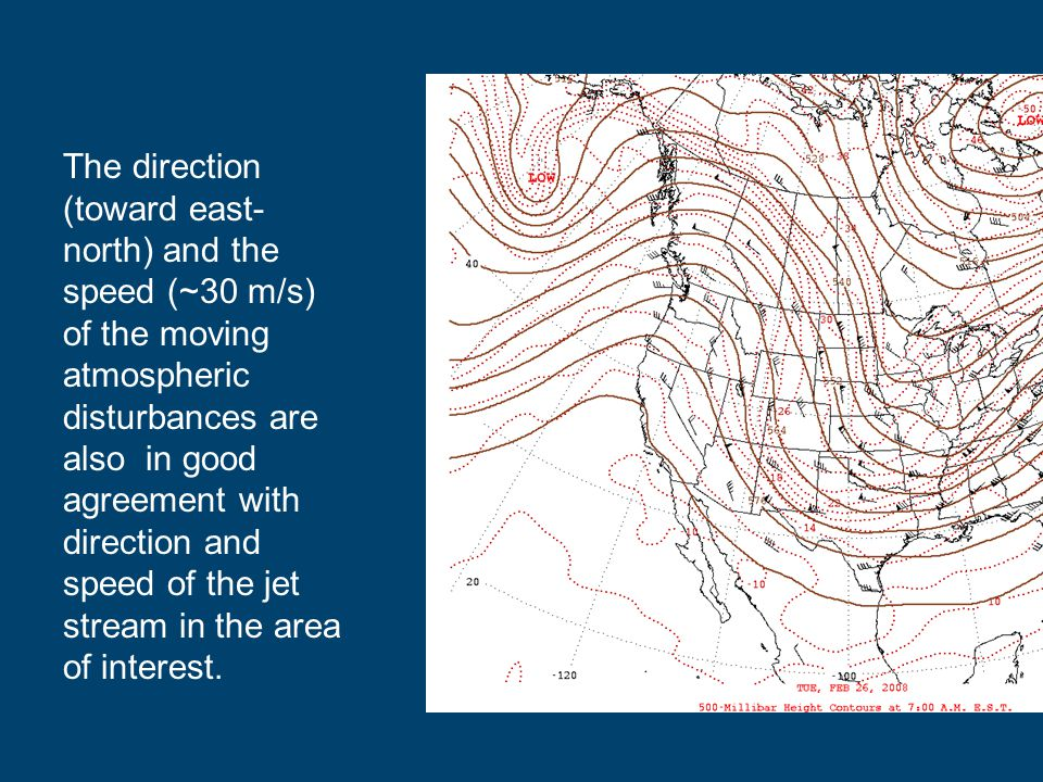 The direction (toward east-north) and the speed (~30 m/s) of the moving atmospheric disturbances are also in good agreement with direction and speed of the jet stream in the area of interest.