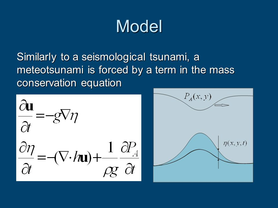 Model Similarly to a seismological tsunami, a meteotsunami is forced by a term in the mass conservation equation.