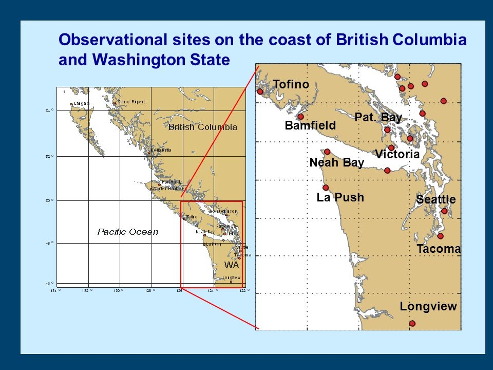 Observational sites on the coast of British Columbia and Washington State