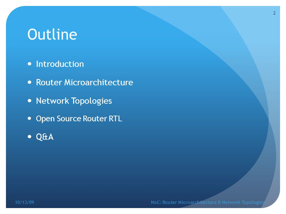 Outline Introduction Router Microarchitecture Network Topologies Q&A