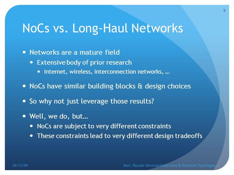 NoCs vs. Long-Haul Networks