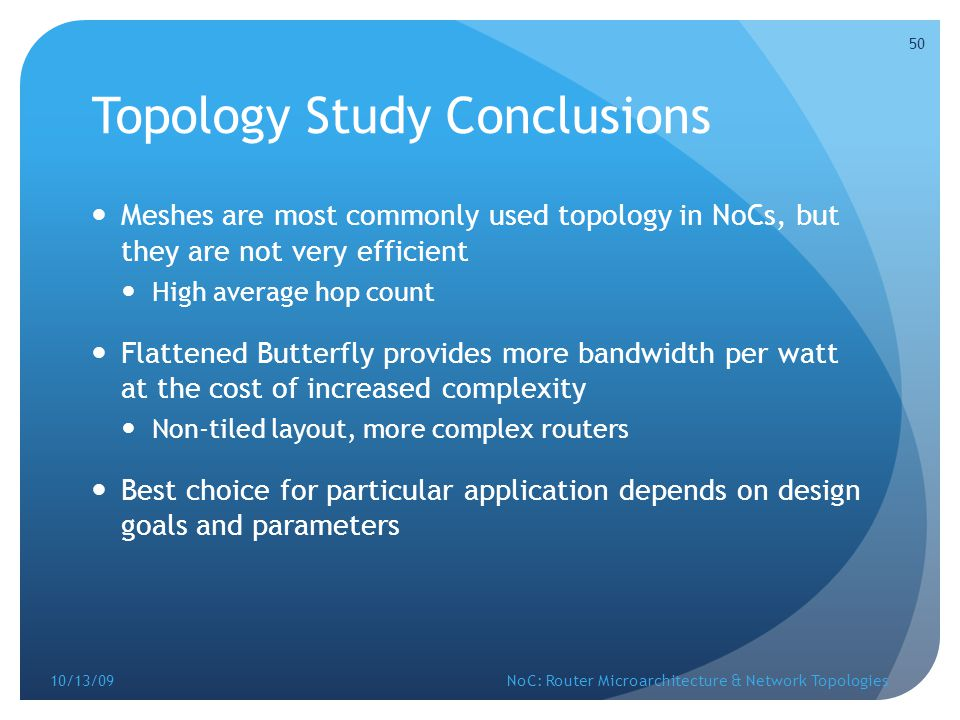 Topology Study Conclusions
