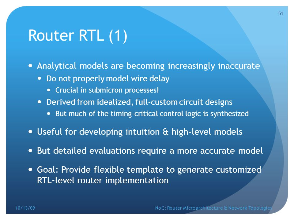 Router RTL (1) Analytical models are becoming increasingly inaccurate