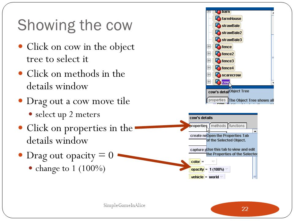 Showing the cow Click on cow in the object tree to select it