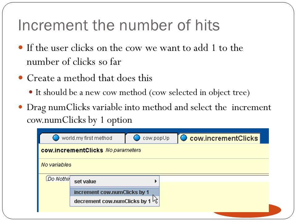 Increment the number of hits