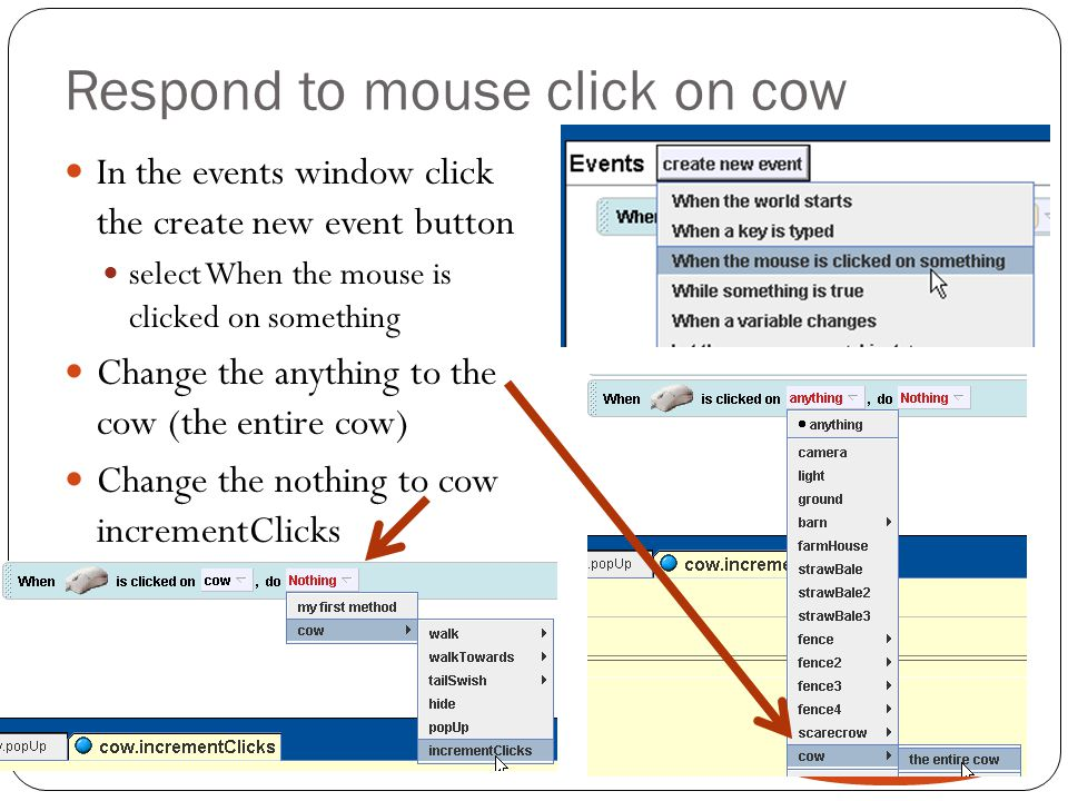 Respond to mouse click on cow