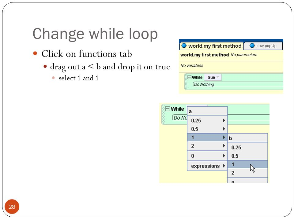 Change while loop Click on functions tab