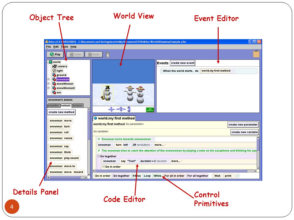 Object Tree World View Event Editor Details Panel Control Primitives Code Editor