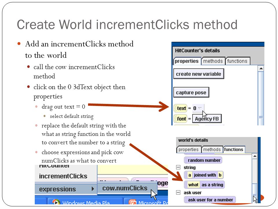 Create World incrementClicks method