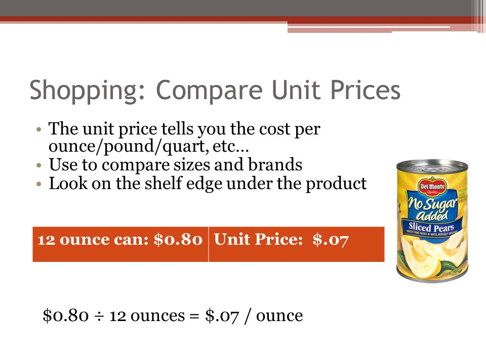 Shopping: Compare Unit Prices