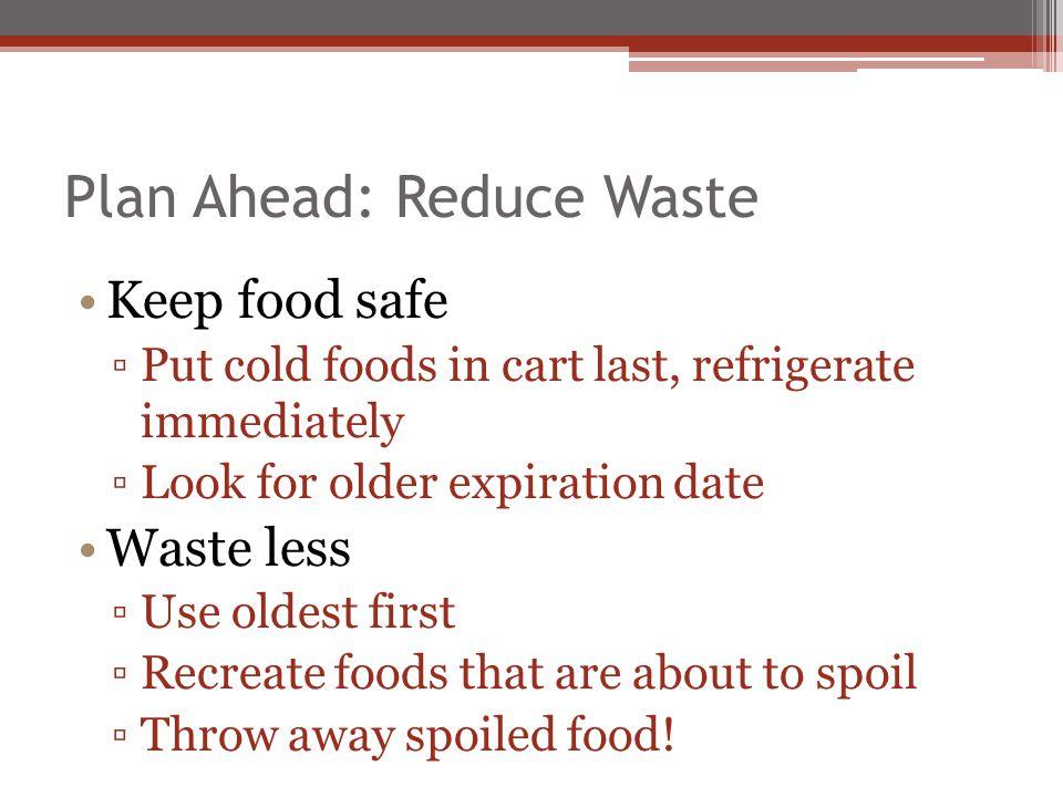 Plan Ahead: Reduce Waste