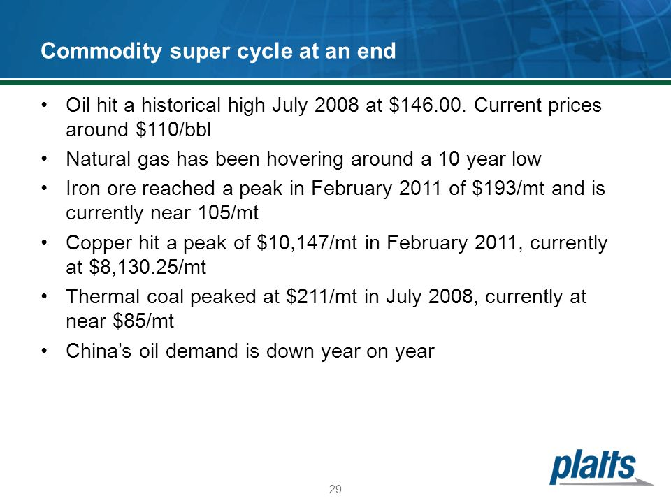 Commodity super cycle at an end