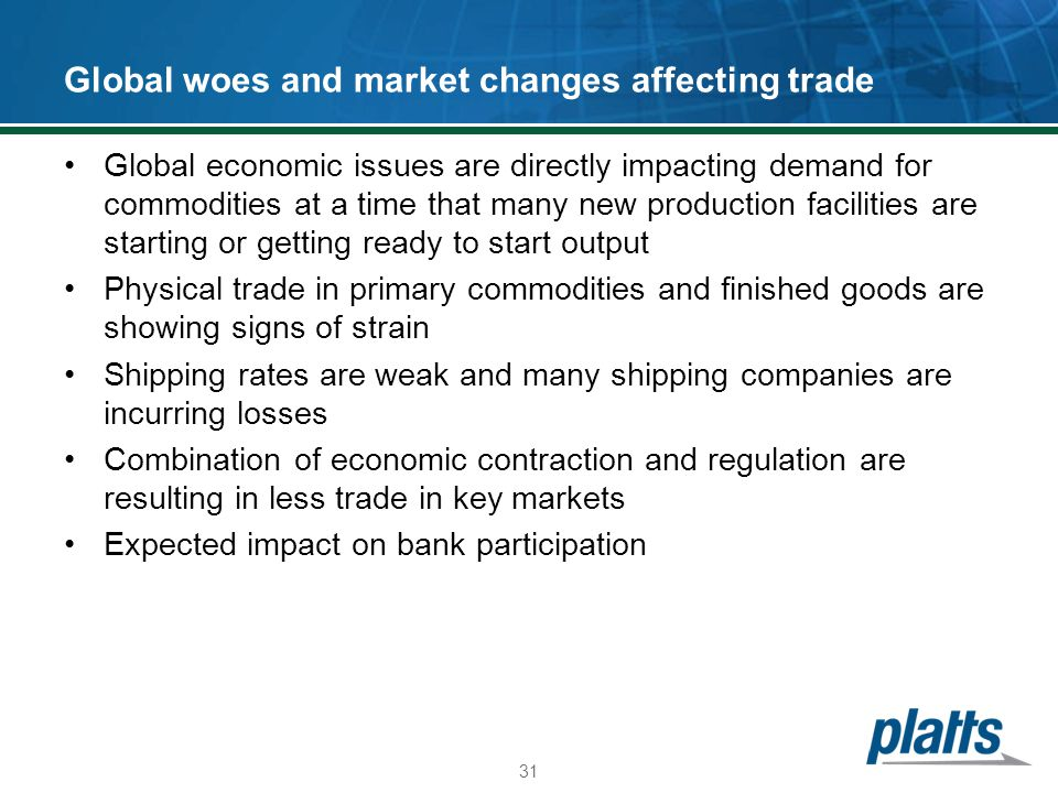 Global woes and market changes affecting trade