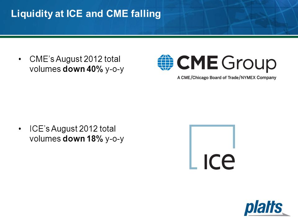 Liquidity at ICE and CME falling