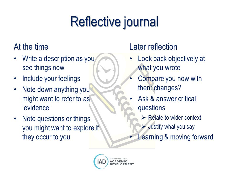 Reflective journal At the time Later reflection
