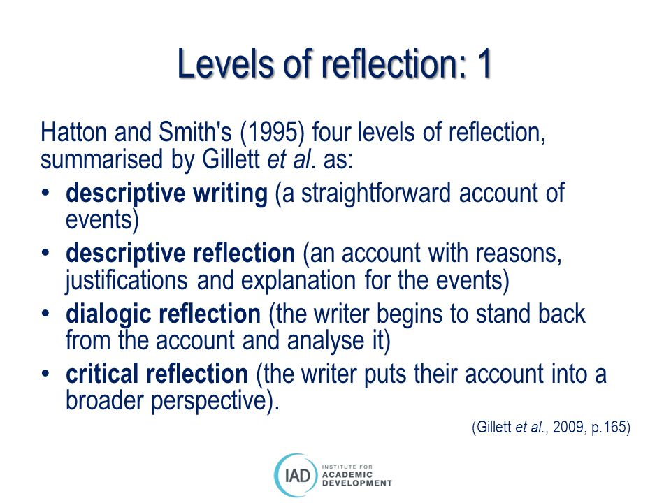 define critical reflection essay Critical reflection critical reflection is the process of questioning assumptions, presuppositions, and meaning perspectivesthe most crucial, challenging, spiritually valuable, and oft-avoided aspect of critical reflection is critical self-reflection - the process of questioning one's own assumptions, presuppositions, and meaning perspectives.