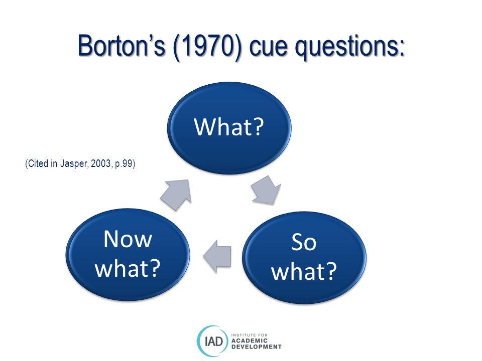 Borton's (1970) cue questions:
