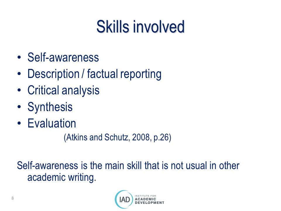 Skills involved Self-awareness Description / factual reporting