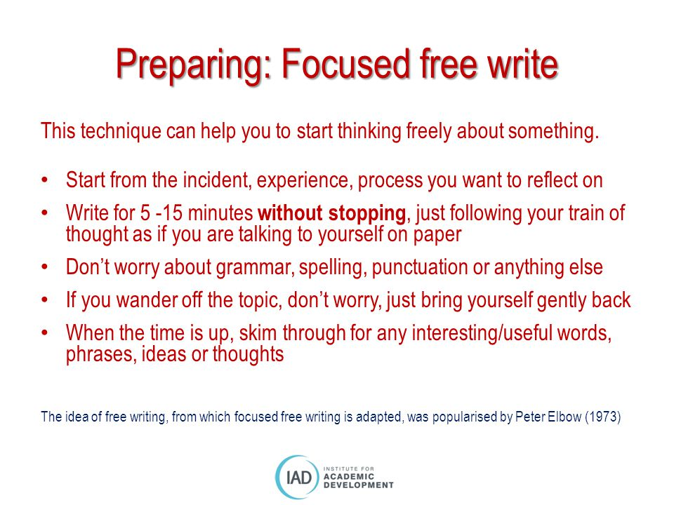 freewriting by peter elbow Free writing - by peter elbow, from writing without teachersthe most effective way i know to improve your writing is to do freewriting exerc.