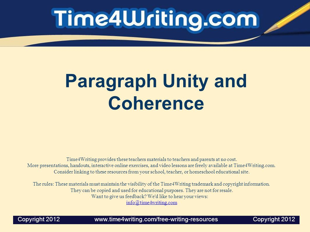 Paragraph Unity and Coherence