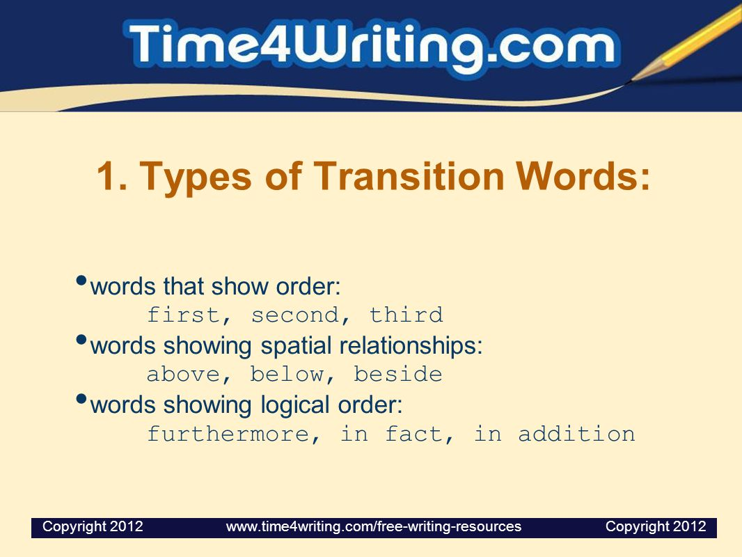 1. Types of Transition Words: