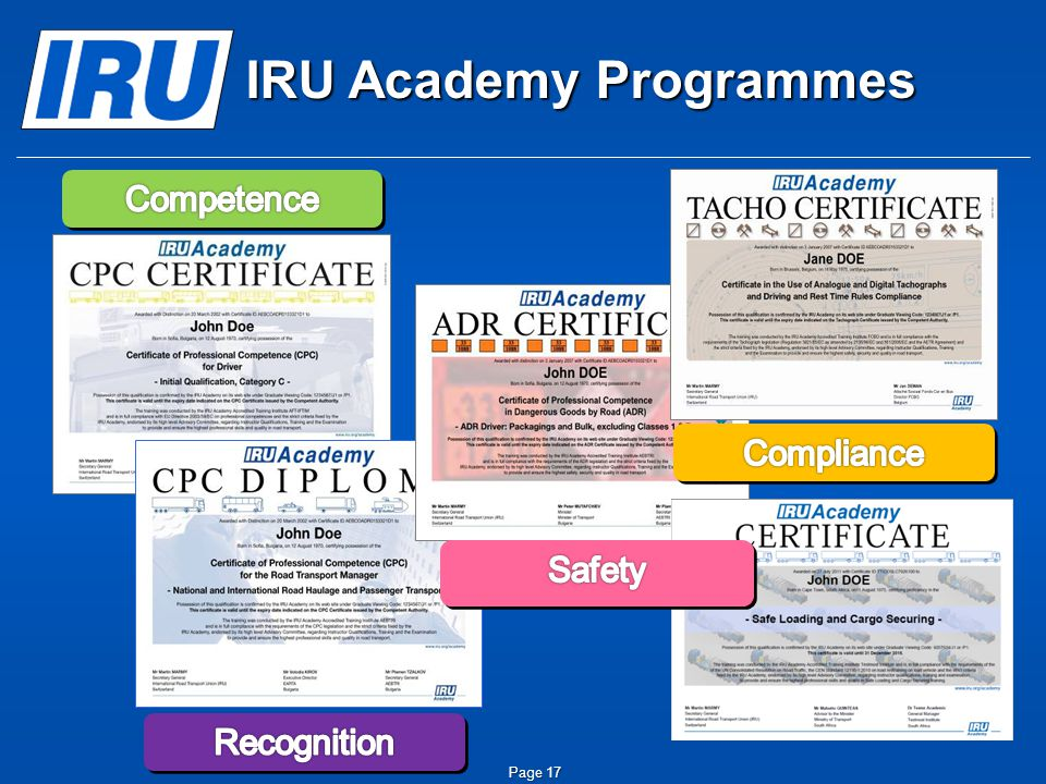 IRU Academy Programmes