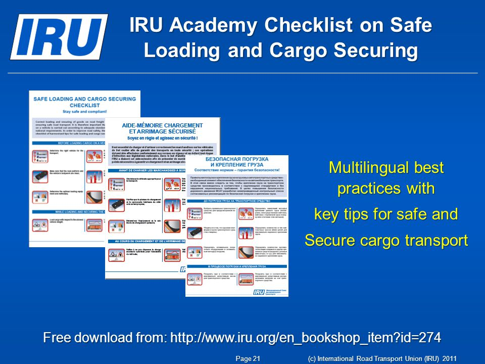 IRU Academy Checklist on Safe Loading and Cargo Securing