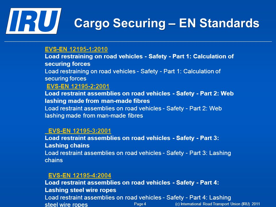 Cargo Securing – EN Standards