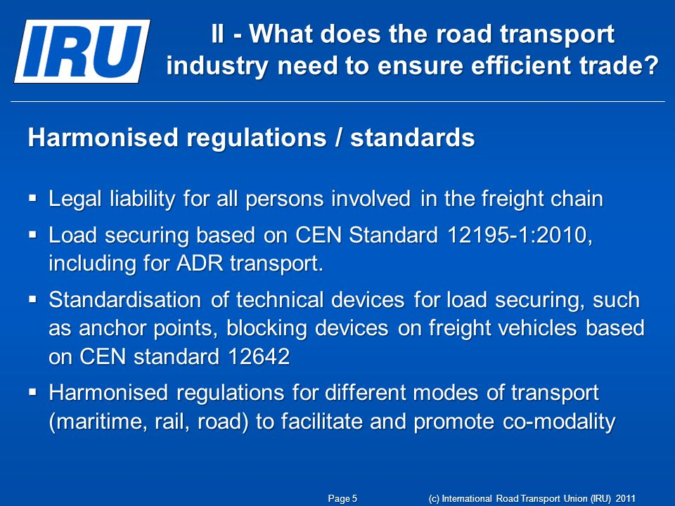 Harmonised regulations / standards