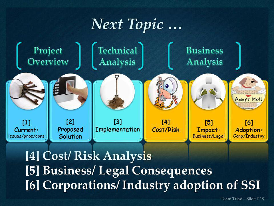 Next Topic … [4] Cost/ Risk Analysis [5] Business/ Legal Consequences