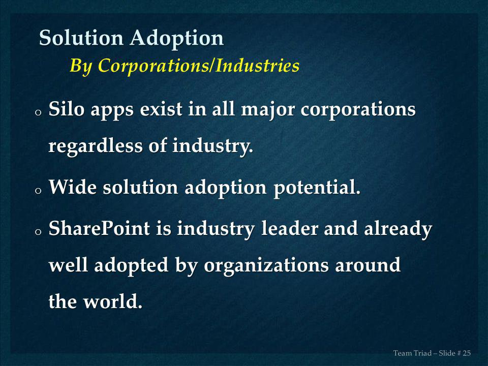 Solution Adoption By Corporations/Industries. Silo apps exist in all major corporations regardless of industry.