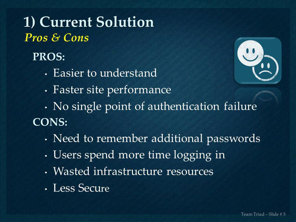 1) Current Solution Pros & Cons Easier to understand
