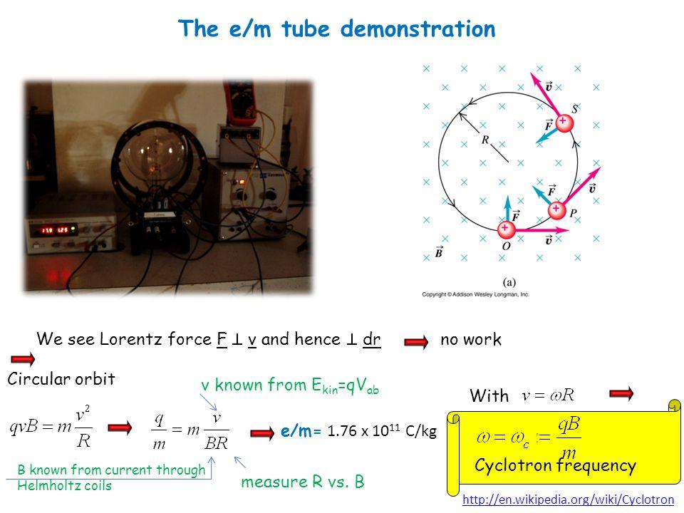 The e/m tube demonstration