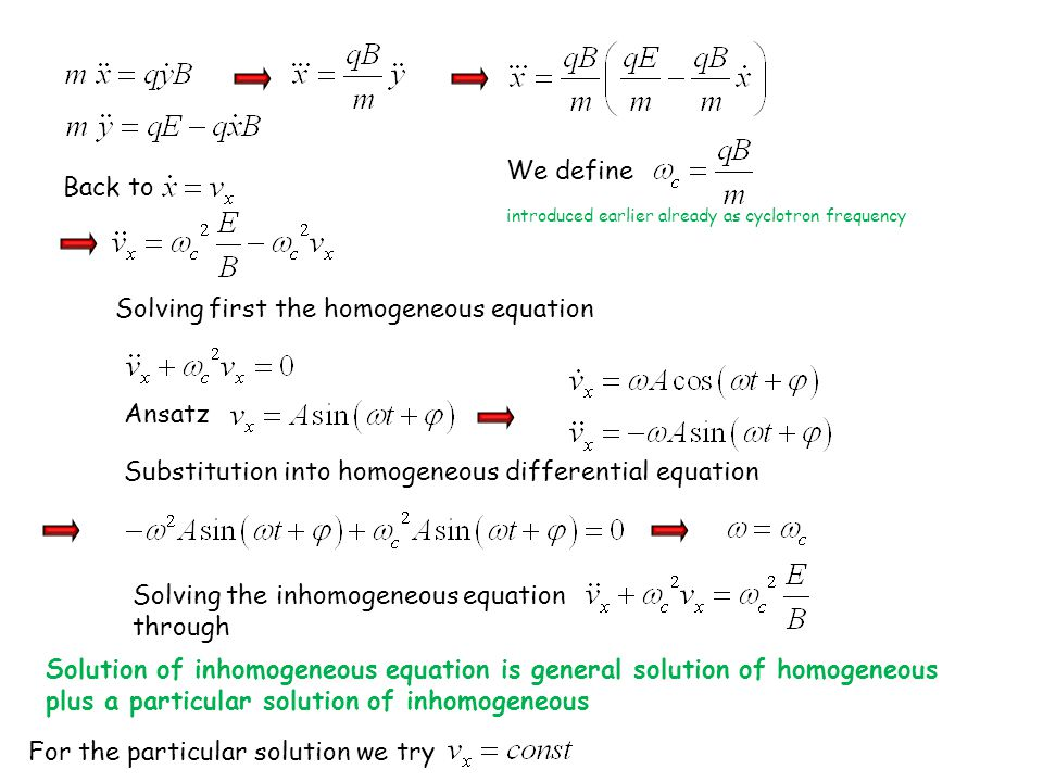 Solving first the homogeneous equation